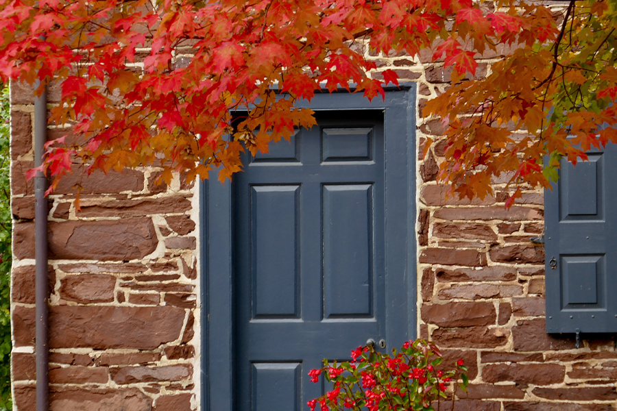 Willow Grove, Pa - Closeup of Historic Stone House in Autumn in Willow Grove Pennsylvania